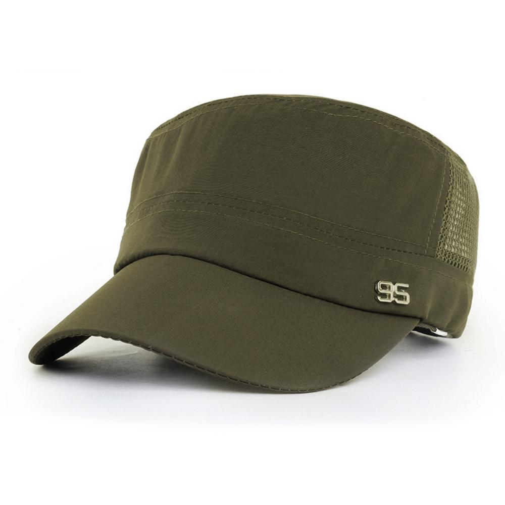 活力揚邑 防曬涼感速乾吸濕排汗潮流軍帽平頂帽-軍綠