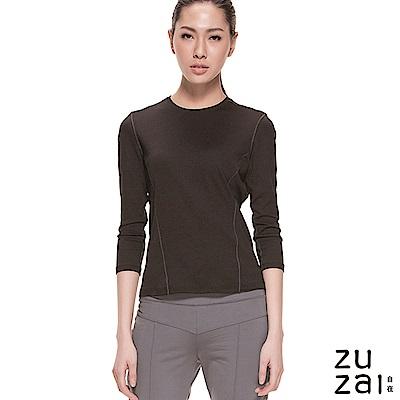 zuzai 自在輕感瞬乾 排汗七分袖上衣-女-黑色
