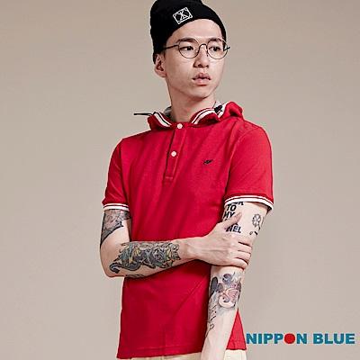 日本藍 BLUE WAY 簡約休閒風連帽POLO衫(紅)