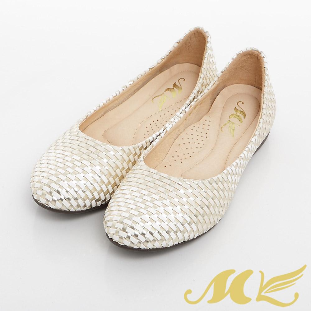 MK-臺灣製-金屬編織拼接平底娃娃鞋-金色