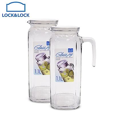 [買1送1]樂扣樂扣 玻璃方形冷水壺/把手/1.1L(快)(時時樂)