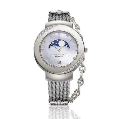 CHARRIOL 夏利豪 真鑽時尚月相鎖鍊錶-(白貝面)-35mm