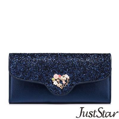 Just-Star-賽琳娜繽紛閃亮三折長夾-深邃藍