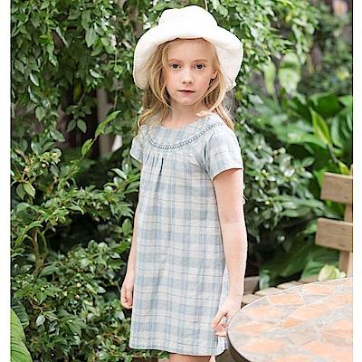 PIPPY 寬鬆格子布洋裝 灰藍