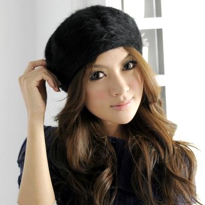 Aimee-Toff-優雅甜心氣質百搭兔毛貝蕾帽-黑
