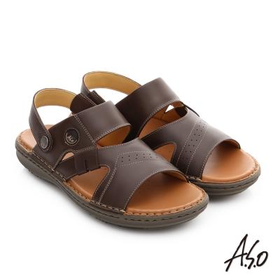 A.S.O 輕量樂活 真皮可調式後帶涼拖鞋 咖啡色
