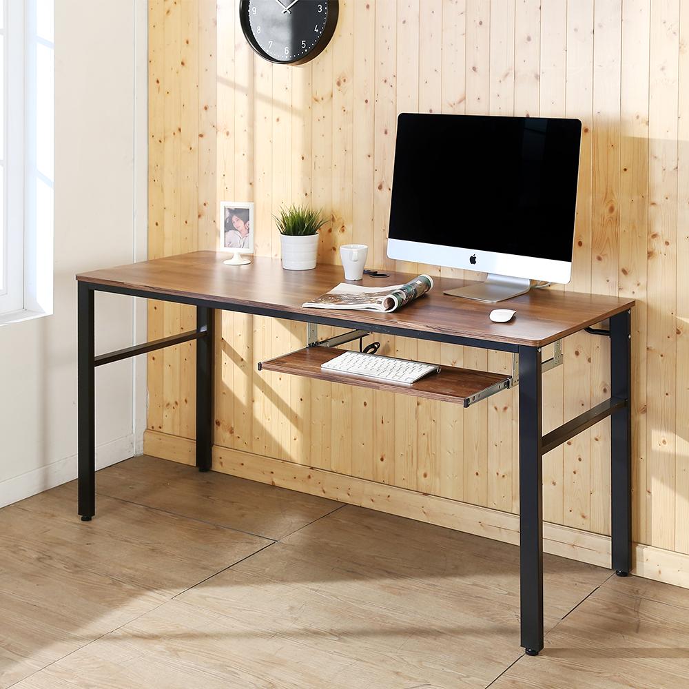 BuyJM工業風低甲醛防潑水附插座單鍵盤工作桌寬160x60x79公分-DIY