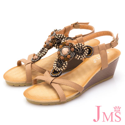 JMS-異國元素民族風串珠楔型涼鞋-杏色