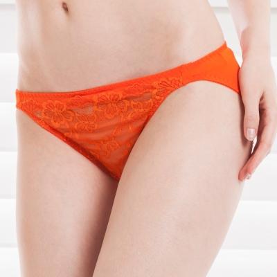 思薇爾 熱戀夏威夷系列M-XL蕾絲低腰三角褲(加州橘)