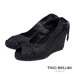 Tino Bellini 西班牙進口浪漫女神魚口麻底楔型鞋_ 黑