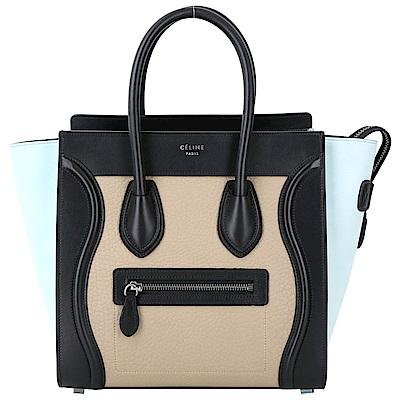CELINE Micro Luggage 彩色珠地小牛皮拼接手提冏包