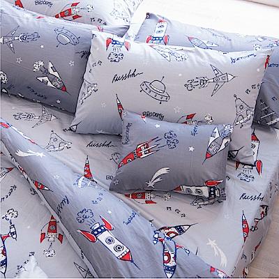 OLIVIA  星際大冒險 淺灰  雙人全鋪棉床包冬夏兩用被套四件組 歐式枕套