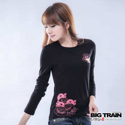 BIG TRAIN 犬張子團花發熱TEE-女-黑
