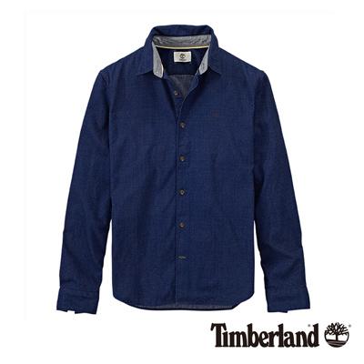 Timberland-男款靛藍色點點圖案純棉長袖襯衫
