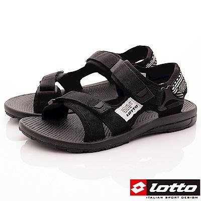 Lotto樂得-織帶Q彈耐磨涼鞋-SI160黑(女段)