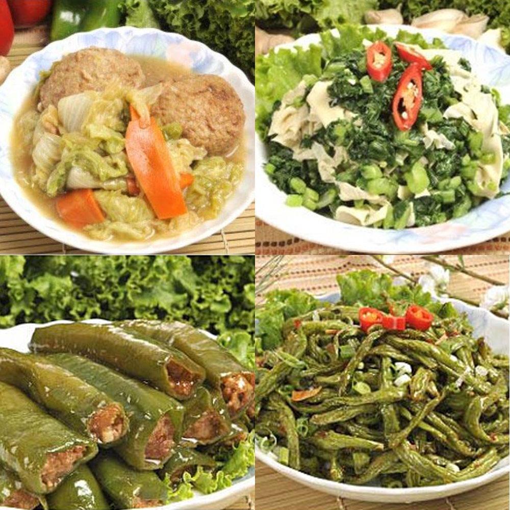 南門市場逸湘齋 紅燒獅子頭、乾扁四季豆、青椒釀肉、雪菜百頁(4件組)