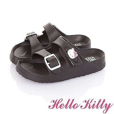 HelloKitty童鞋 極輕量減壓腳床型休閒拖鞋-黑