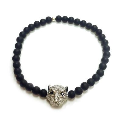 One of a kind 美洲豹手鍊 鑲白鑽 925純銀 黑玉石珠珠 可彈性伸縮