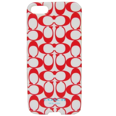 COACH 雙色C-LOGO iPhone5手機保護殼(紅白)