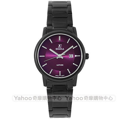 SIGMA 簡約藍寶石鏡面時尚女手錶-紫X黑/30mm