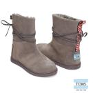 TOMS 皮繩麂皮雪靴-孩童款(深灰)