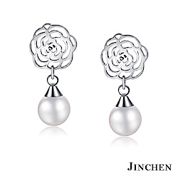 JINCHEN 白鋼薔薇珍珠耳環