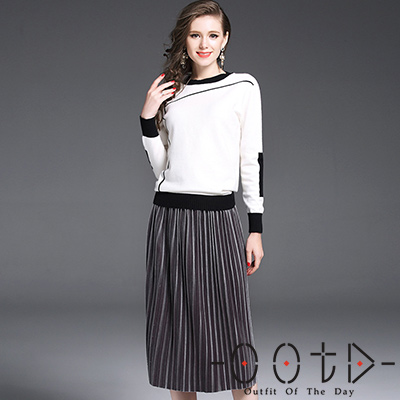 圓領撞色長袖毛衣+絲絨長百摺裙 兩件套 (白+銀灰色)-OOTD