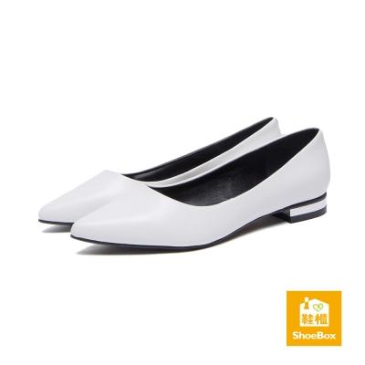 鞋櫃ShoeBox-高跟鞋-純色霧面尖頭低跟鞋-白