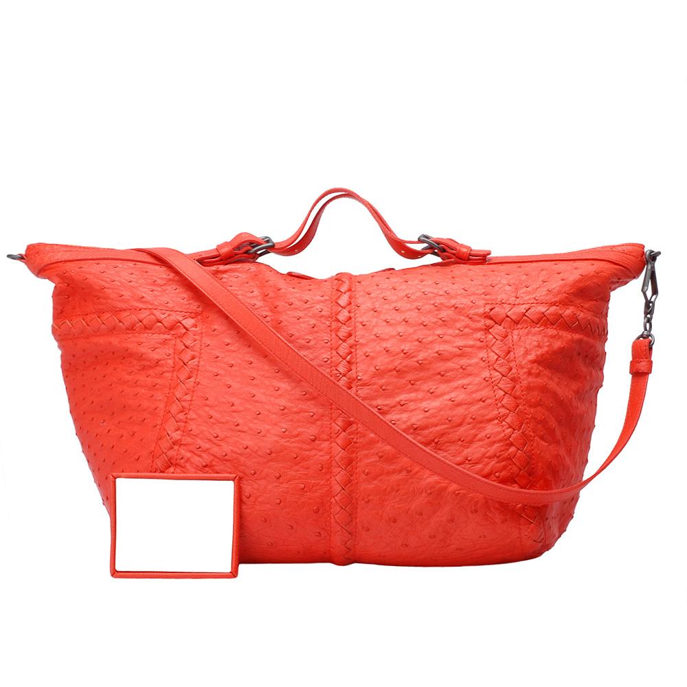BOTTEGA VENETA頂級鴕鳥皮編織造型飾邊手提/斜背包(橘紅)
