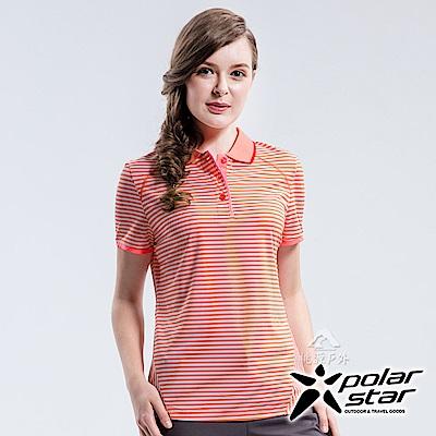 PolarStar 女 條紋排汗快乾POLO衫『粉橘』P18122