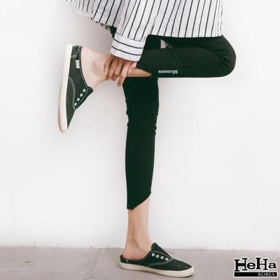 內搭褲 下擺不規則字母圖騰legging 黑色-HeHa