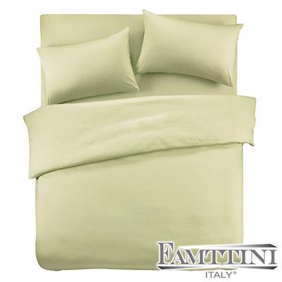 義大利Famttini-典藏原色 單人三件式精梳棉被套床包組-果綠