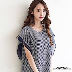 【AIRKOREA正韓空運】正韓雪紡條紋造型上衣