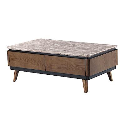 品家居 薛柏4.3尺胡桃木紋石面大茶几-130x70x46.5cm免組