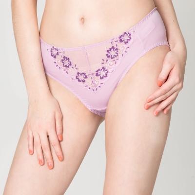 【思薇爾】戀衣蝶舞系列M-XXL蕾絲中腰三角內褲(紫丁香)