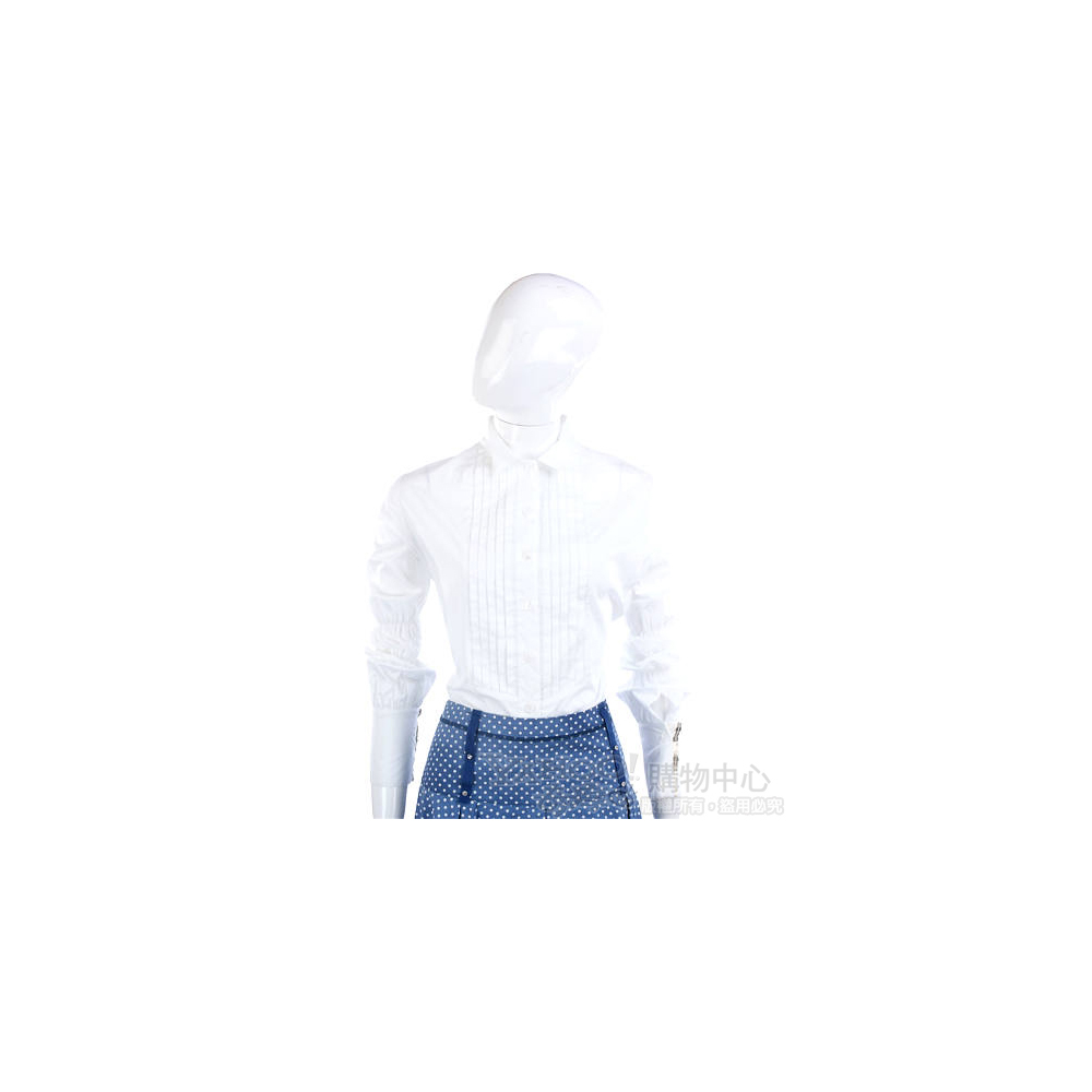 Lorella Braglia 白色抓摺造型長袖襯衫