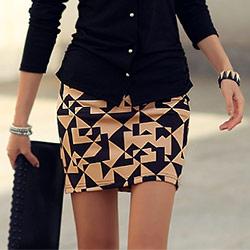 正韓 滿版幾何圖形短裙 (米色)-N.C21