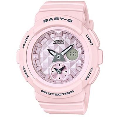BABY-G立體鉚釘設計粉嫩春天氣息風格休閒錶( BGA-190BE-4A)/粉紅44mm