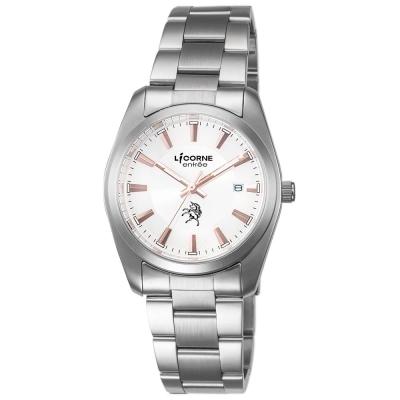LICORNE力抗錶 簡約時尚設計都市手錶 玫瑰金x銀/36mm
