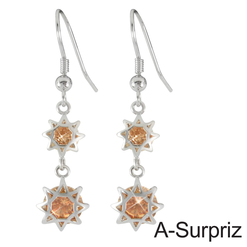 A-Surpriz 星星戀情鋯石耳環(香檳金)