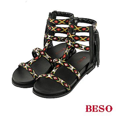BESO異國風情 波西米亞風個性流蘇羅馬涼鞋~黑