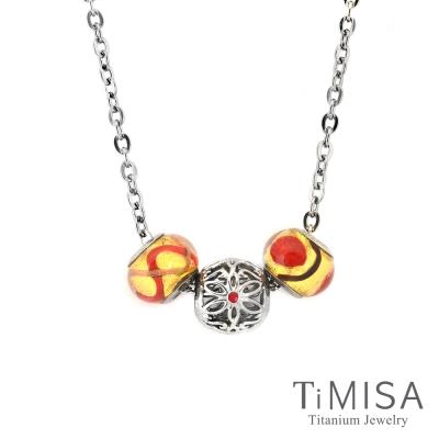 TiMISA 心花綻放 紅 純鈦串飾 項鍊