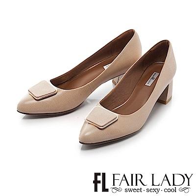 Fair Lady 優雅小姐Miss Elegant 方形裝飾尖頭粗跟鞋 典雅杏