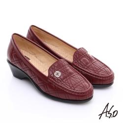 A.S.O 舒適通勤 柔軟幾何壓線奈米跟鞋 紅
