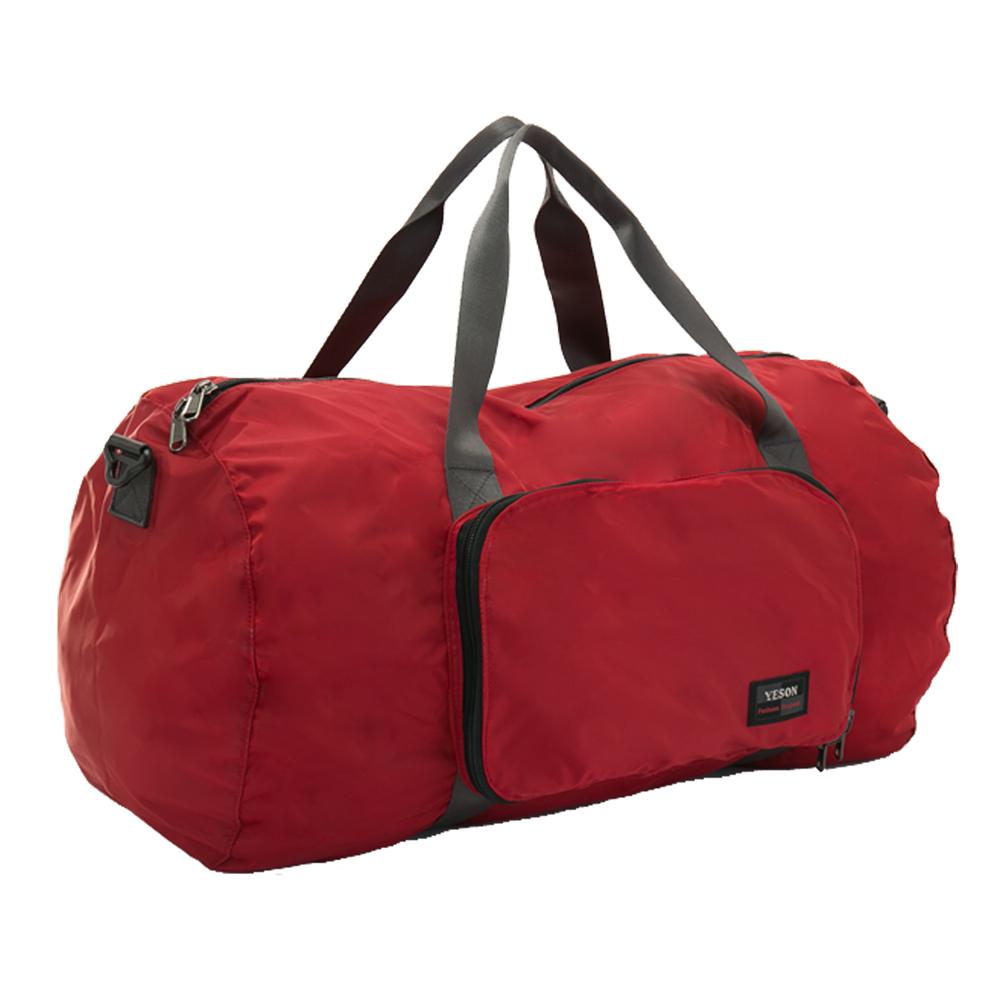 YESON - 商旅輕遊可摺疊式大容量手提斜背旅行袋-紅