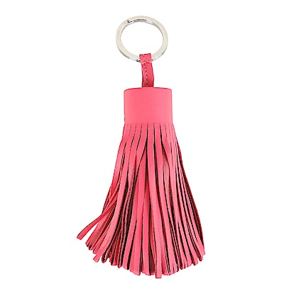 HERMES 流蘇造形山羊皮鑰匙圈手袋吊飾(大/桃粉)