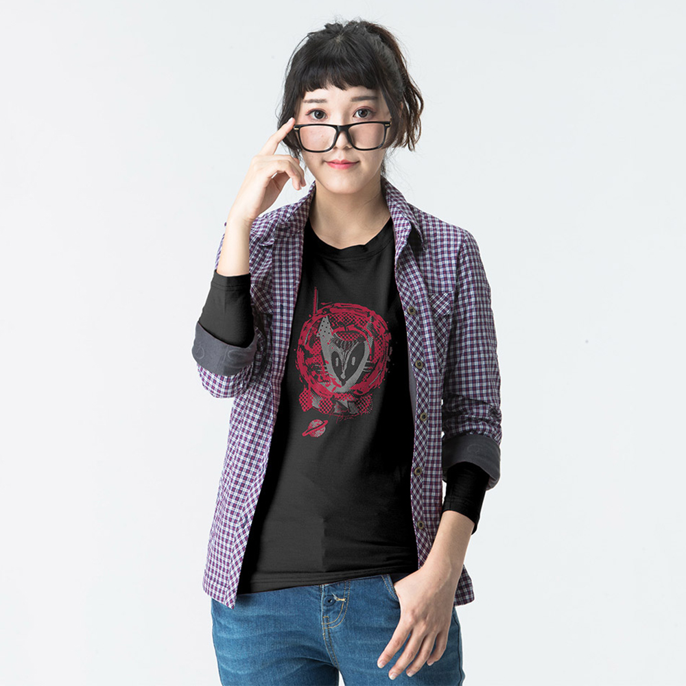 【SNOWFOX 雪狐】新銳插畫家劉經瑋聯名圖T恤女款長袖ATL-81654W黑
