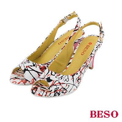 BESO 俏皮印象 全真皮狂放鮮豔魚口涼跟鞋~紅