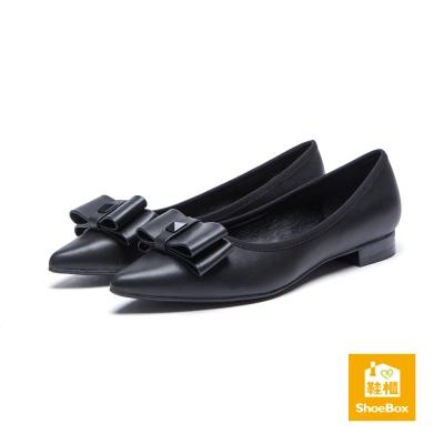 鞋櫃ShoeBox-高跟鞋-立體蝴蝶結滾邊低跟鞋-黑