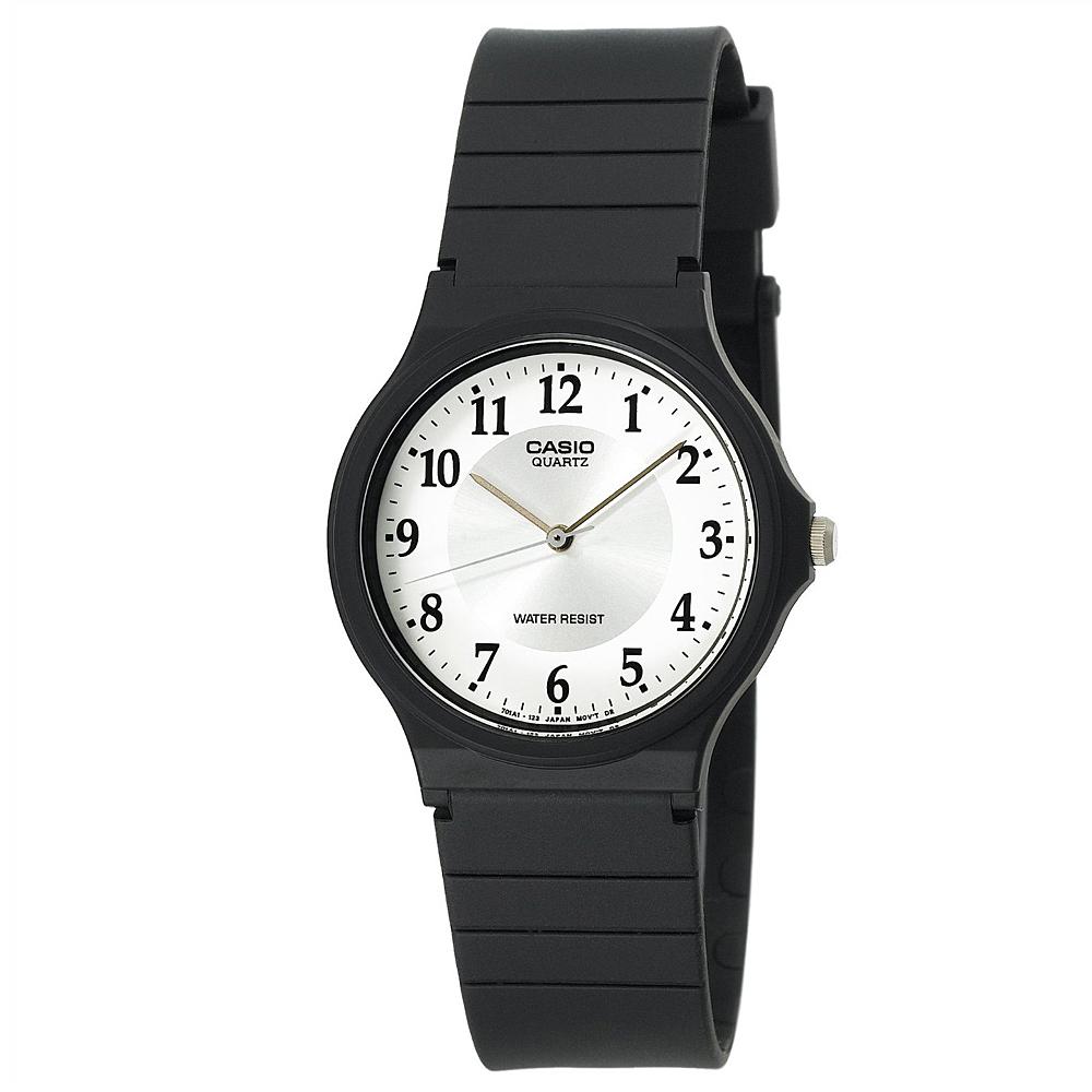 CASIO 超輕薄感數字錶(MQ-24-7B3)-白面銀圈字